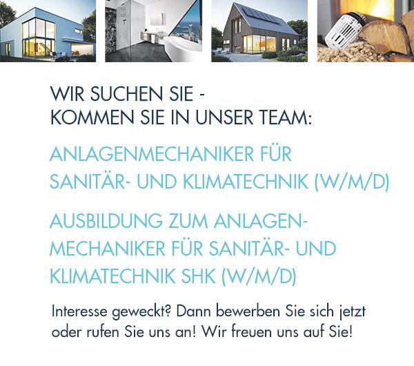 Sanitär, Heizung & Solar Fleig Haustechnik Breisach: Wir suchen: Anlagenmechaniker für Sanitär-und KlimatechniK (M/W/D) + AUSBILDUNG ZUM ANLAGENMECHANIKER (SHK) M/W/D FÜR SANITÄR-, HEIZUNGS- UND KLIMATECHNIK