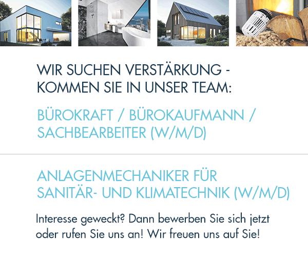Sanitär, Heizung & Solar Fleig Haustechnik Breisach: Wir suchen: Bürokraft/Bürokaufmann/Sachbearbeiter (M/W/D) und Anlagenmechaniker für Sanitär-und KlimatechniK (M/W/D)